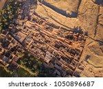 Aerial Top View On Kasbah Ait...