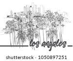 los angeles downtown skyline... | Shutterstock .eps vector #1050897251