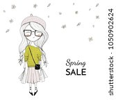 vector illustration. girl with... | Shutterstock .eps vector #1050902624