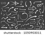 55 hand drawn white arrows on... | Shutterstock .eps vector #1050903011