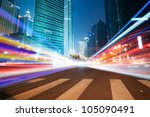 the light trails on the modern... | Shutterstock . vector #105090491