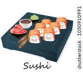 illustration of roll sushi with ...   Shutterstock .eps vector #1050910991