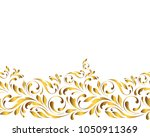 golden seamless border. floral... | Shutterstock .eps vector #1050911369