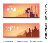 miami and detroit famous city... | Shutterstock .eps vector #1050926297