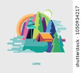 camping. campground in the... | Shutterstock .eps vector #1050934217
