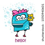 cute monster vector... | Shutterstock .eps vector #1050940601