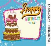 happy birthday invitation card | Shutterstock .eps vector #1050940901