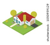 house 3d vector. isometric view ... | Shutterstock .eps vector #1050959129