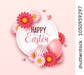 easter background with spring... | Shutterstock .eps vector #1050959297