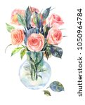 watercolor roses in a glass... | Shutterstock . vector #1050964784