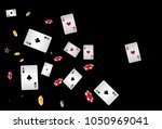 casino playing cards and chips... | Shutterstock .eps vector #1050969041