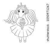 unicorn toddler girl eating ice ... | Shutterstock .eps vector #1050971267