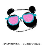 panda with glasses  stylish... | Shutterstock .eps vector #1050979031