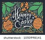 easter vector lettering card....   Shutterstock .eps vector #1050998141