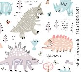 childish seamless pattern with... | Shutterstock .eps vector #1051005581