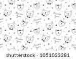 cats in love  vector seamless... | Shutterstock .eps vector #1051023281