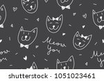 cats in love  vector seamless... | Shutterstock .eps vector #1051023461