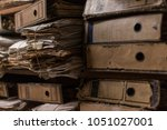 old dusty stack of papers ... | Shutterstock . vector #1051027001