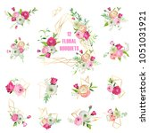 floral bouquets set for... | Shutterstock .eps vector #1051031921