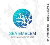 sea emblem. coral and bubbles.... | Shutterstock .eps vector #1051036961
