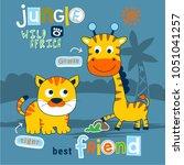 tiger and giraffe funny animal...   Shutterstock .eps vector #1051041257