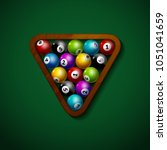 billiard balls wooden rack... | Shutterstock .eps vector #1051041659