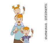 happy dad with his son and...   Shutterstock .eps vector #1051046951