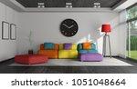 black and white living room... | Shutterstock . vector #1051048664