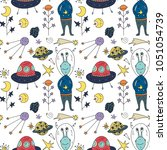 seamless vector pattern with... | Shutterstock .eps vector #1051054739