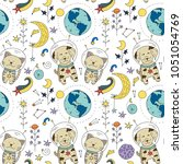 seamless vector pattern with... | Shutterstock .eps vector #1051054769