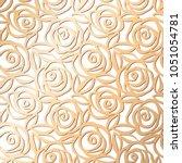 ornamental rose floral golden... | Shutterstock .eps vector #1051054781