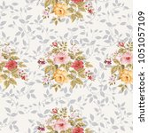seamless floral pattern with... | Shutterstock .eps vector #1051057109