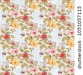seamless floral pattern with... | Shutterstock .eps vector #1051057115