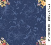 seamless floral pattern with... | Shutterstock .eps vector #1051057121