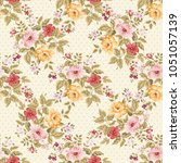 seamless floral pattern with... | Shutterstock .eps vector #1051057139