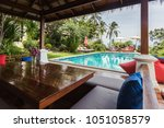 veranda private swimming pool... | Shutterstock . vector #1051058579