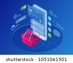 isometric smart phone online... | Shutterstock . vector #1051061501