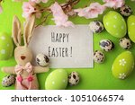 colorful easter eggs and spring ... | Shutterstock . vector #1051066574