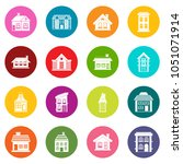 house icons many colors set... | Shutterstock . vector #1051071914