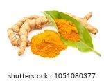 turmeric powder and fresh... | Shutterstock . vector #1051080377