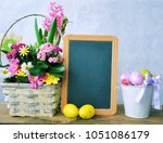 spring holiday frame of flowers ...   Shutterstock . vector #1051086179