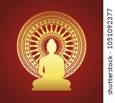 gold buddha statue and... | Shutterstock .eps vector #1051092377