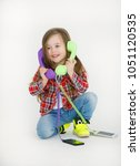 portrait of cheerful little... | Shutterstock . vector #1051120535