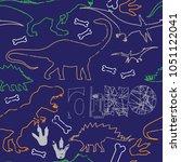 seamless  dino pattern  print... | Shutterstock .eps vector #1051122041