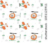seamless vector pattern with... | Shutterstock .eps vector #1051125911