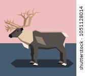 flat design reindeer | Shutterstock .eps vector #1051128014