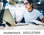 experienced businesswoman... | Shutterstock . vector #1051137005