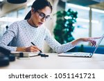pensive business woman noting... | Shutterstock . vector #1051141721