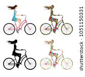 young girl riding a bicycle ... | Shutterstock .eps vector #1051150331