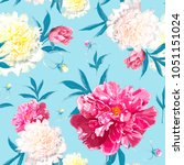 seamless pattern with pink and... | Shutterstock .eps vector #1051151024